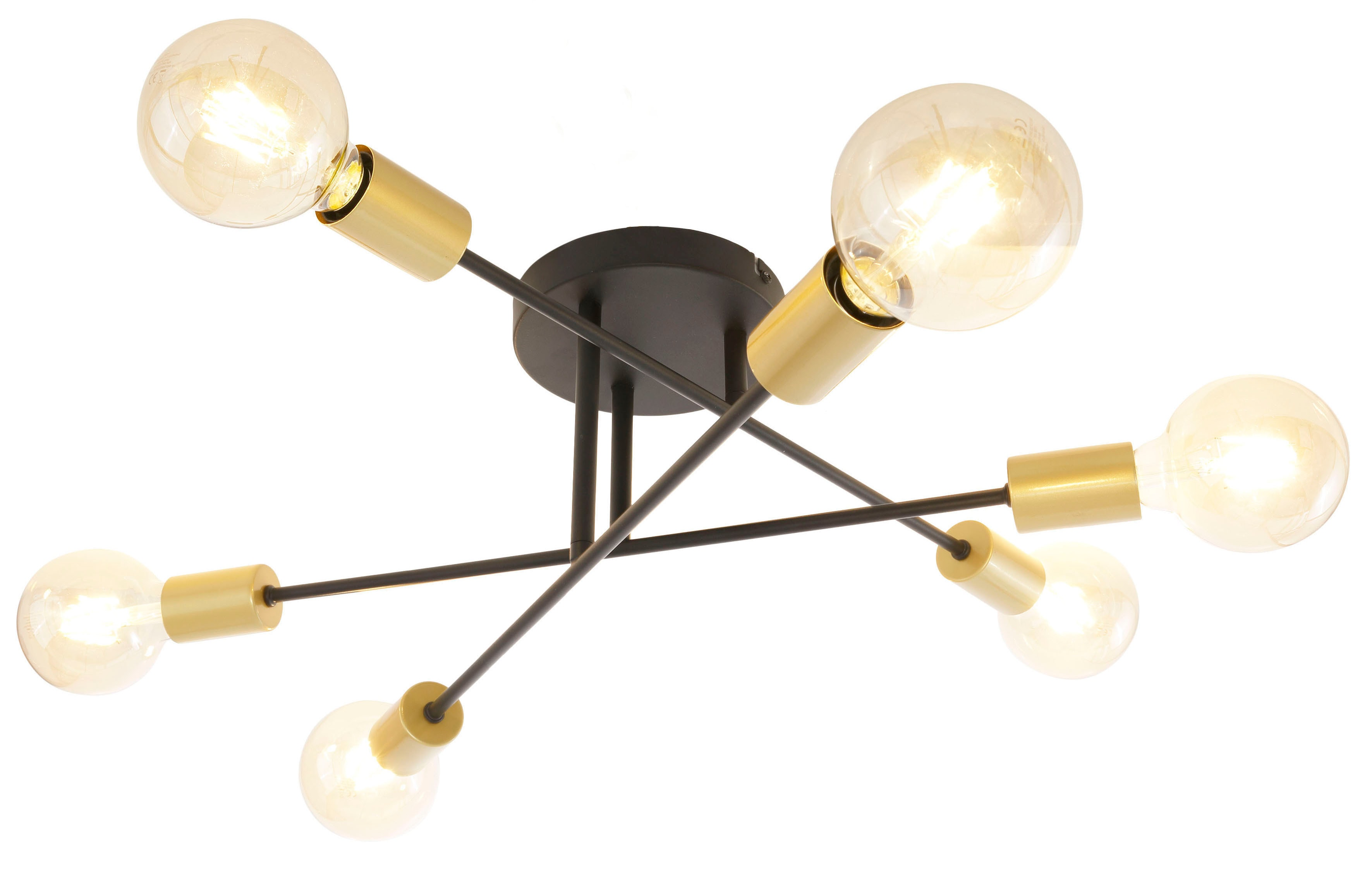 Leonique Deckenleuchte Jarla, E27, 1 St., Deckenlampe / Wandlampe mit goldfarbenen Fassungen, Arme flexibel verstellbar / schwenkbar