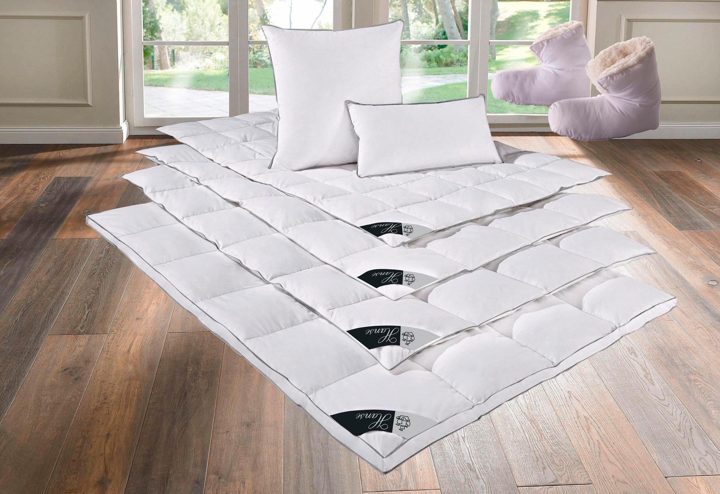 Daunenbettdecken + Kopfkissen Lea Hanse by RIBECO warm | Heimtextilien > Decken und Kissen > Bettdecken | Weiß | Baumwolle - Federn | Hanse