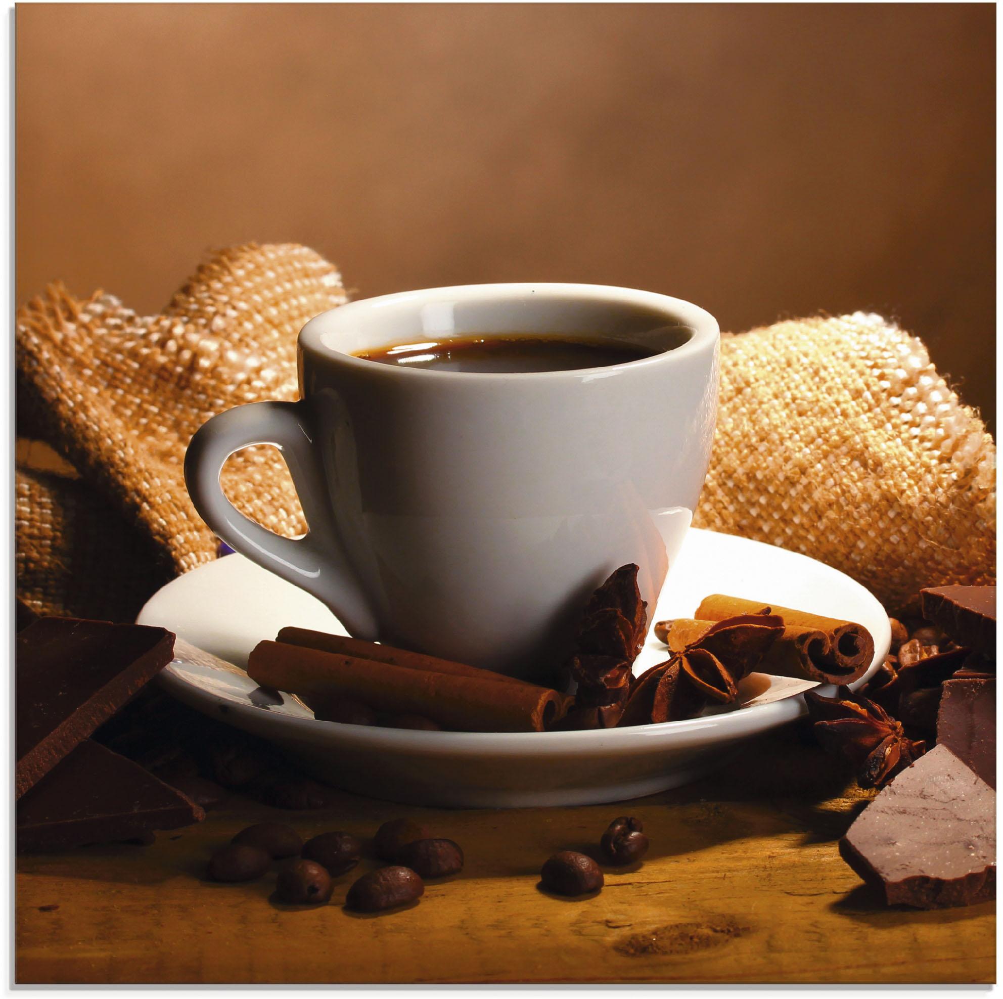 Artland Glasbild Kaffeetasse Zimtstange Nüsse Schokolade, Getränke, (1 St.) braun Glasbilder Bilder Bilderrahmen Wohnaccessoires