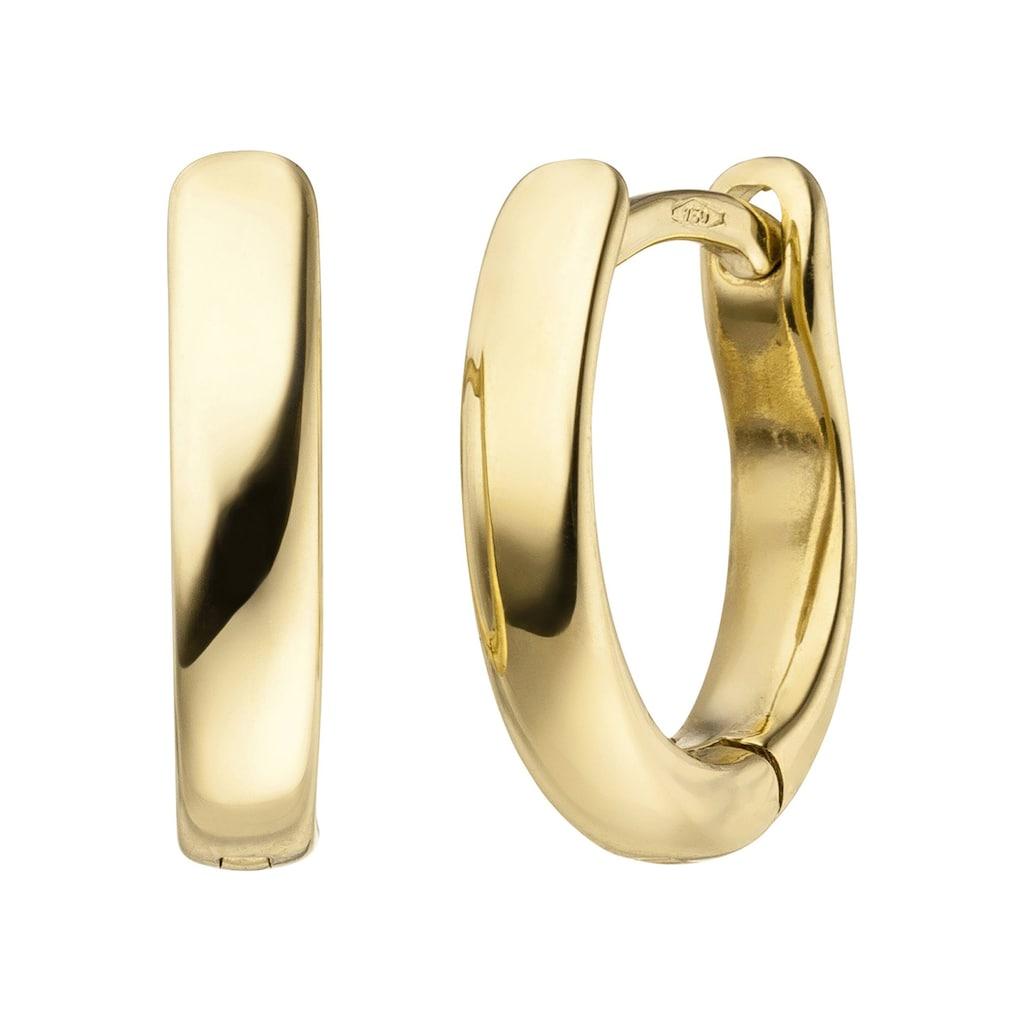 JOBO Paar Creolen, oval 750 Gold