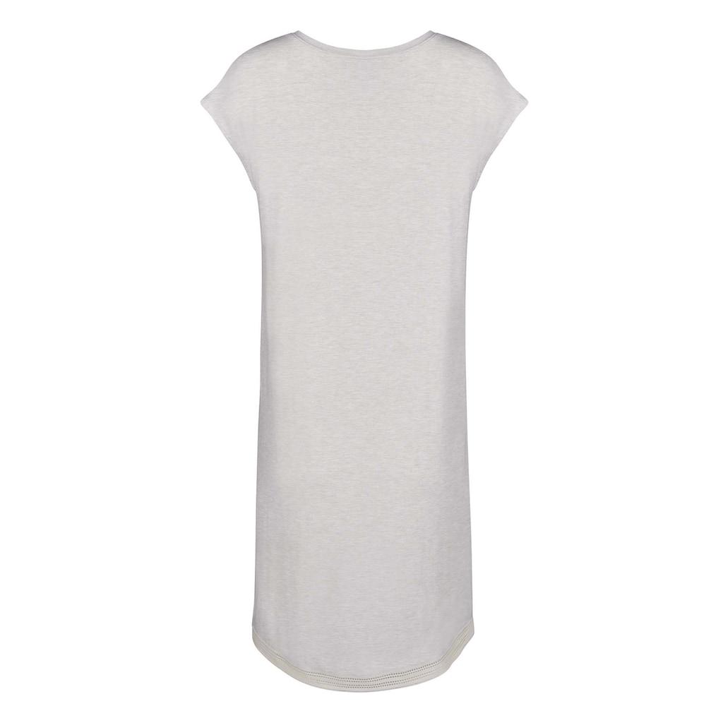 Skiny Nachthemd kurzarm mit dezentem Spitzendetail