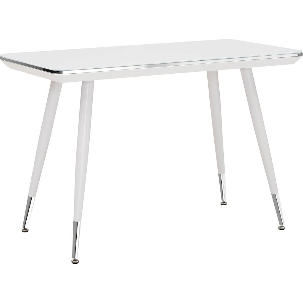 Maja Möbel Schreibtisch »Schreib- und Computertisch 5007«, Chromrahmen, Metallgestell weiß mit Chromfüßen, Oberboden Weißglas ESG-Sicherheitsglas 6 mm