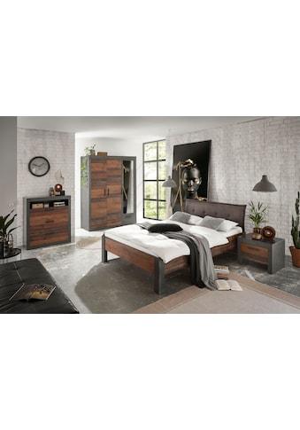 Home affaire Schlafzimmer-Set »BROOKLYN«, (Set, Einzelbett mit Polsterkopfteil, Nachtkommode, Kleiderschrank 3 trg., Kommode) kaufen