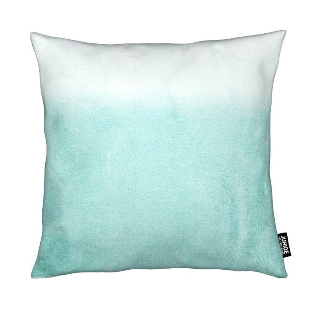 Juniqe Dekokissen »Fading Aqua«, Weiches, allergikerfreundliches Material
