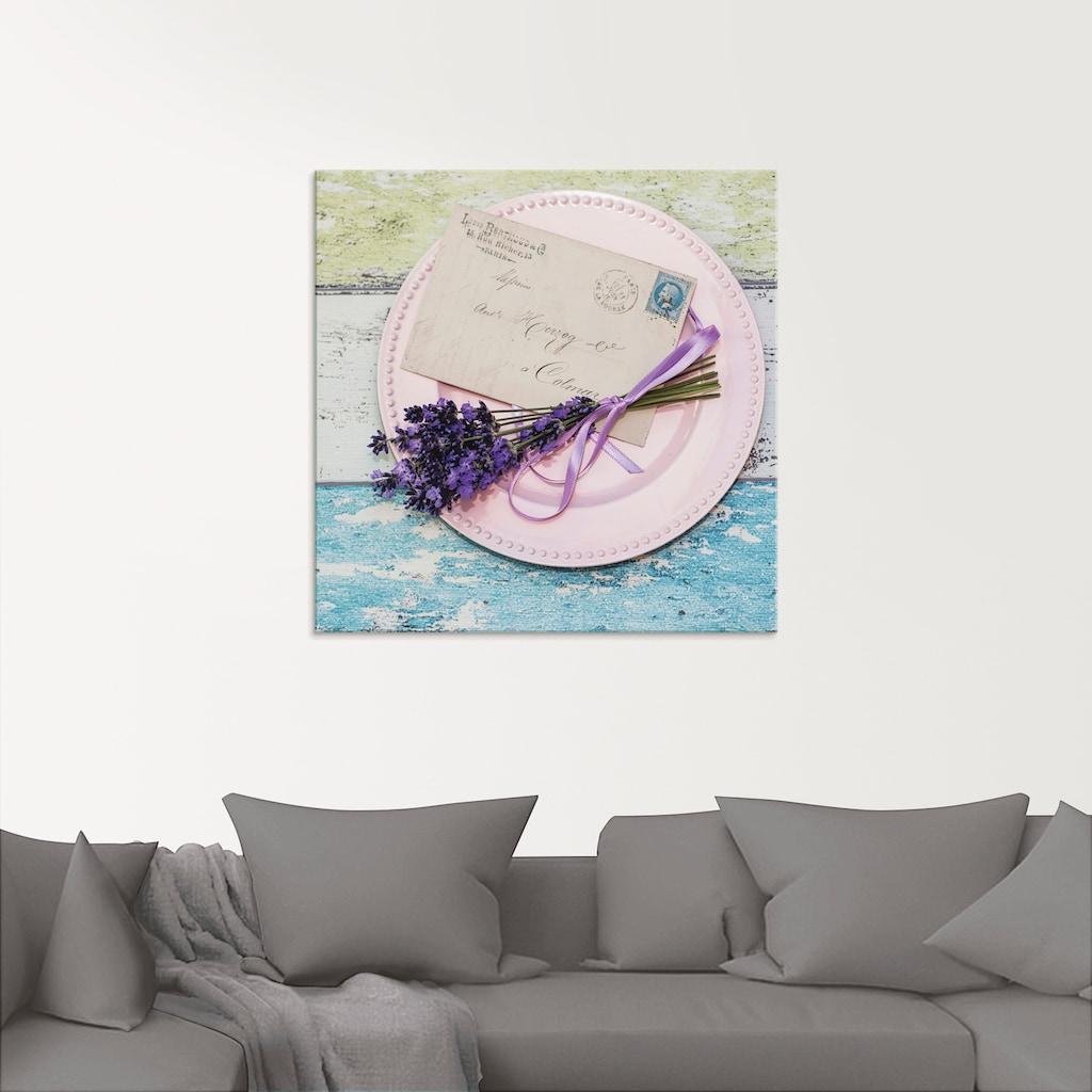 Artland Glasbild »Liebesbrief aus der Vergangenheit«, Blumen, (1 St.)