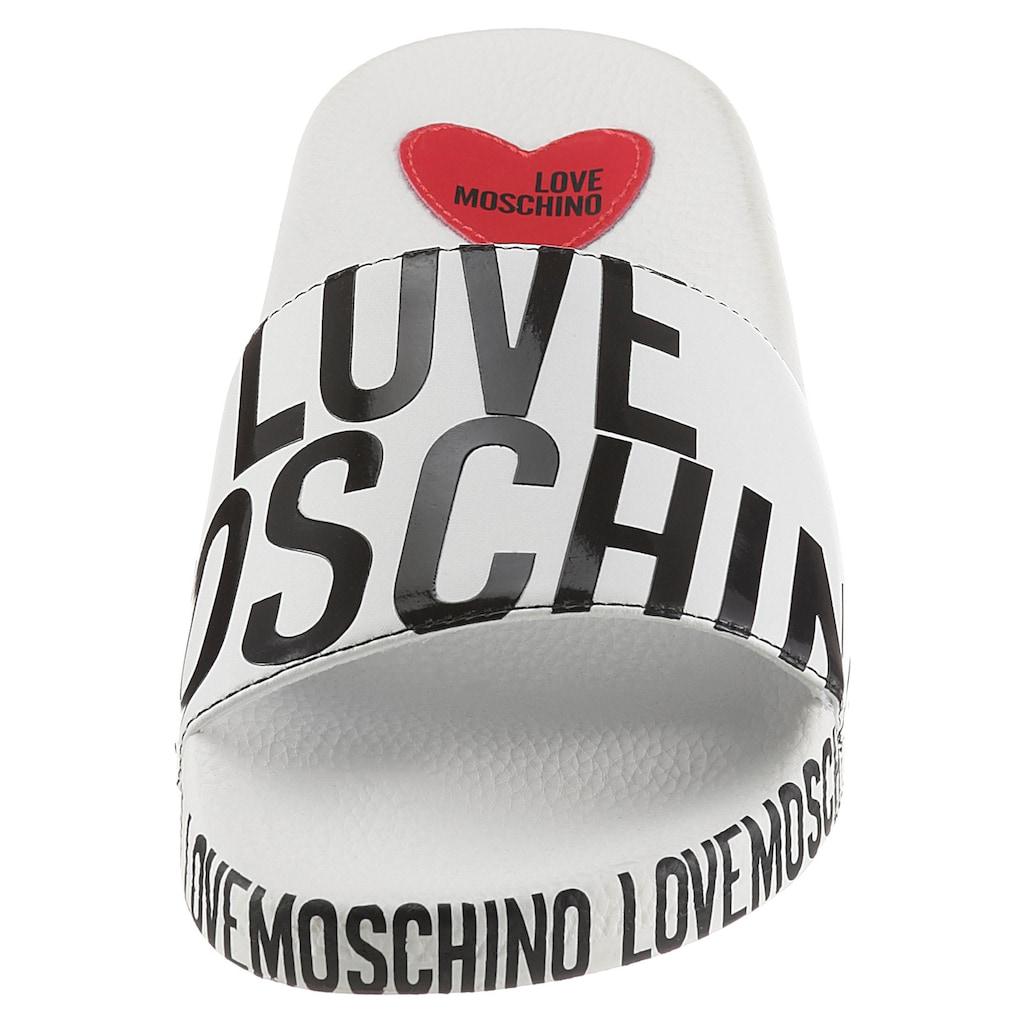 LOVE MOSCHINO Pantolette, mit auffälligem Logoprint