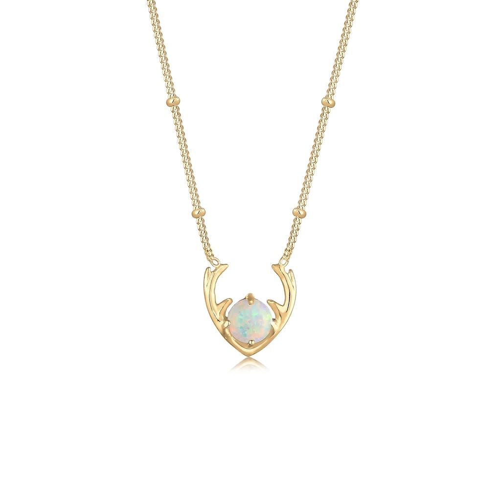 Elli Collierkettchen »Synthetischer Opal Rentier Geweih 925 Silber«