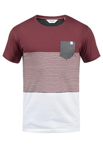 Solid Rundhalsshirt »Malte«, Kurzarmshirt mit Streifen und Brusttasche kaufen