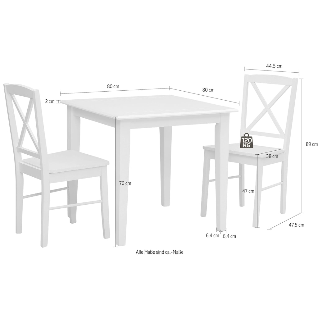 Home affaire Essgruppe »Olvera«, (Set, 3 tlg.), aus massivem Kiefernholz, bestehend aus Fullerton Esstisch 80 cm und 2 Sonoma Esszimmerstühlen (3-tlg.)