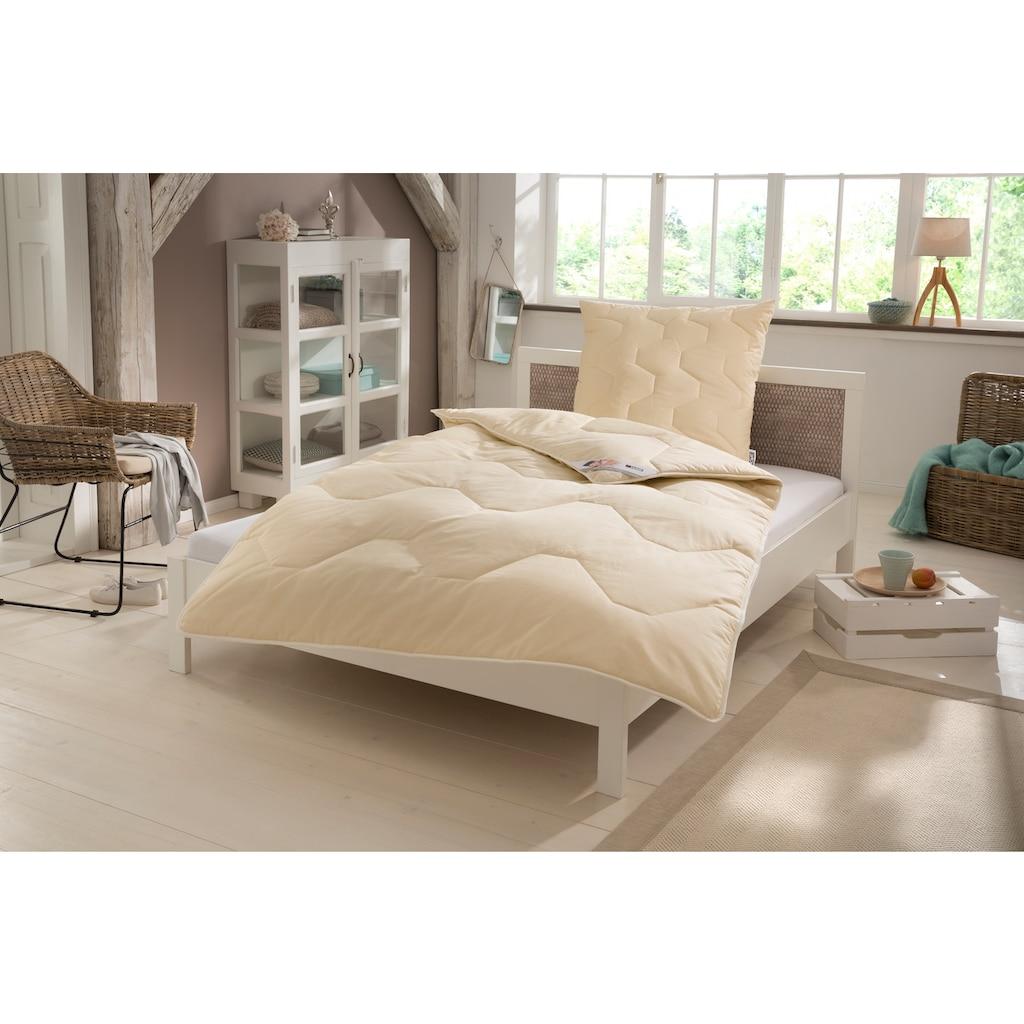 my home Naturfaserbettdecke + Kopfkissen »Baumwolle 60 °C«, (Spar-Set, (4-Tlg.)), natürlich gut schlafen in reiner Baumwollqualität