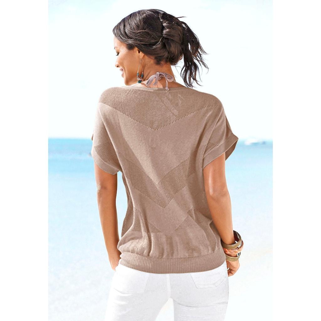 LASCANA Strandpullover, aus Ajourstrick