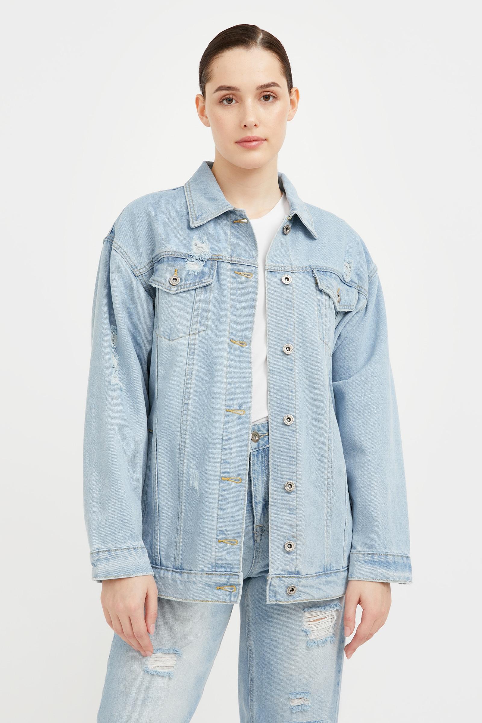 finn flare -  Jeansjacke, mit Used-Waschung