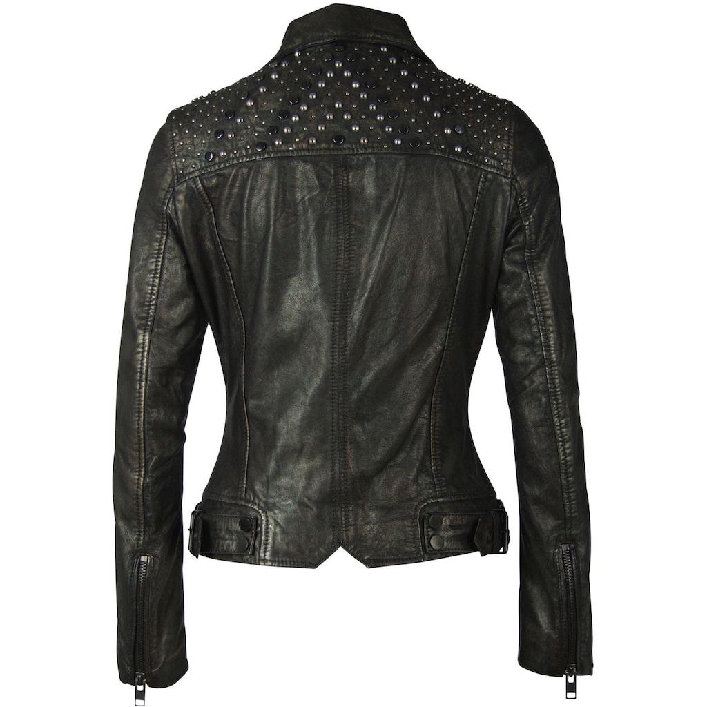 Gipsy Lederjacke »Lania«, short Jacket mit Nieten im Metallic-Look