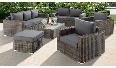 BAIDANI Loungeset »Escape«, 21 - tlg., 3 - Sitzer, 2 - Sitzer, Hocker, Tisch, Polyrattan kaufen