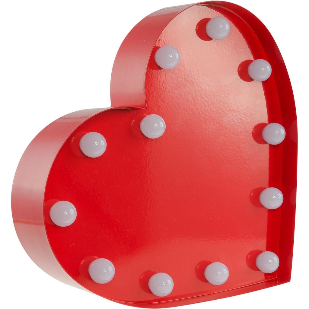 MARQUEE LIGHTS LED Dekolicht »Herz«, 1 St., Warmweiß, Wandlampe, Tischlampe Heart mit 12 festverbauten LEDs - 23cm Breit und 23cm hoch