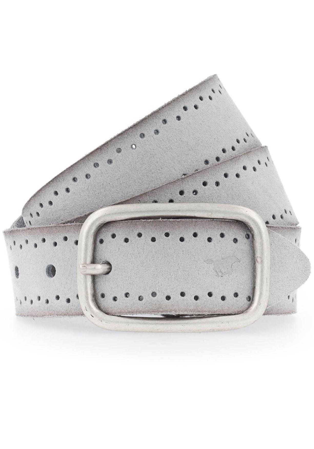 MUSTANG Ledergürtel, Robustes, genarbtes Rindsleder mit Lochstanzung grau Damen Ledergürtel Gürtel Accessoires