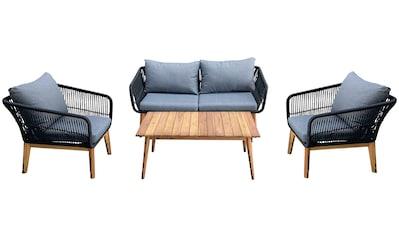Homexperts Loungeset »Comfy«, (12 tlg.), mit modernem Seilgeflecht, Massivholz und... kaufen