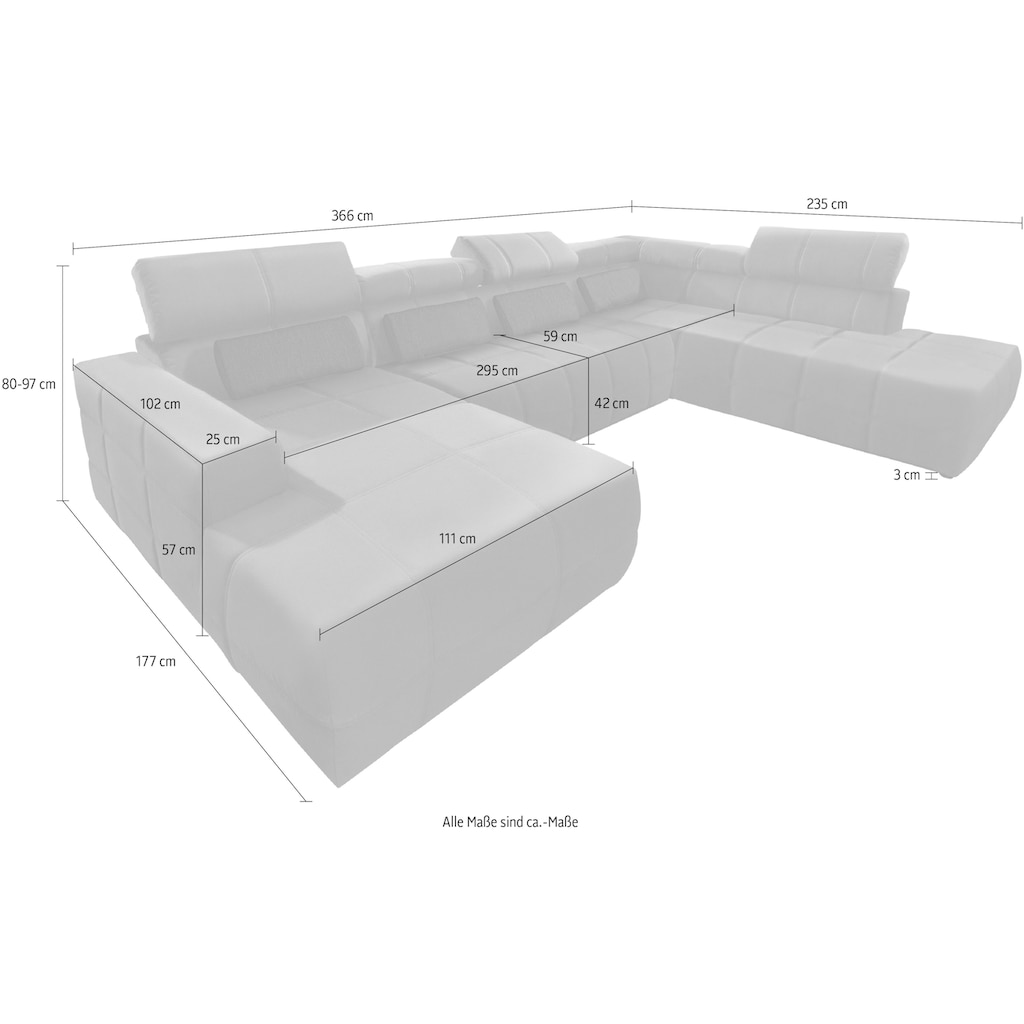 DOMO collection Wohnlandschaft »Brandon«, inklusive Kopf- bzw Rückenteilverstellung, wahlweise mit Sitztiefenverstellung, frei im Raum stellbar