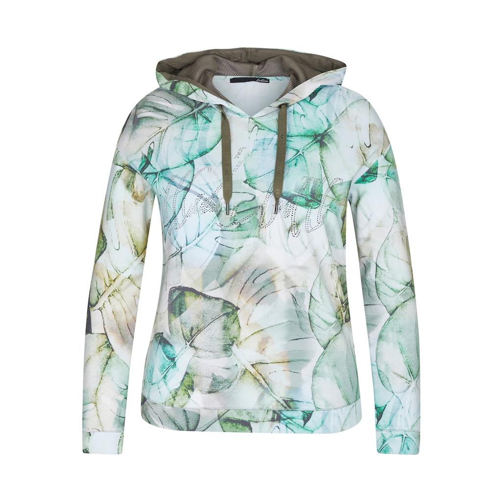 LeComte Kapuzensweatshirt, mit exotischem Muster und Strass-Steinen