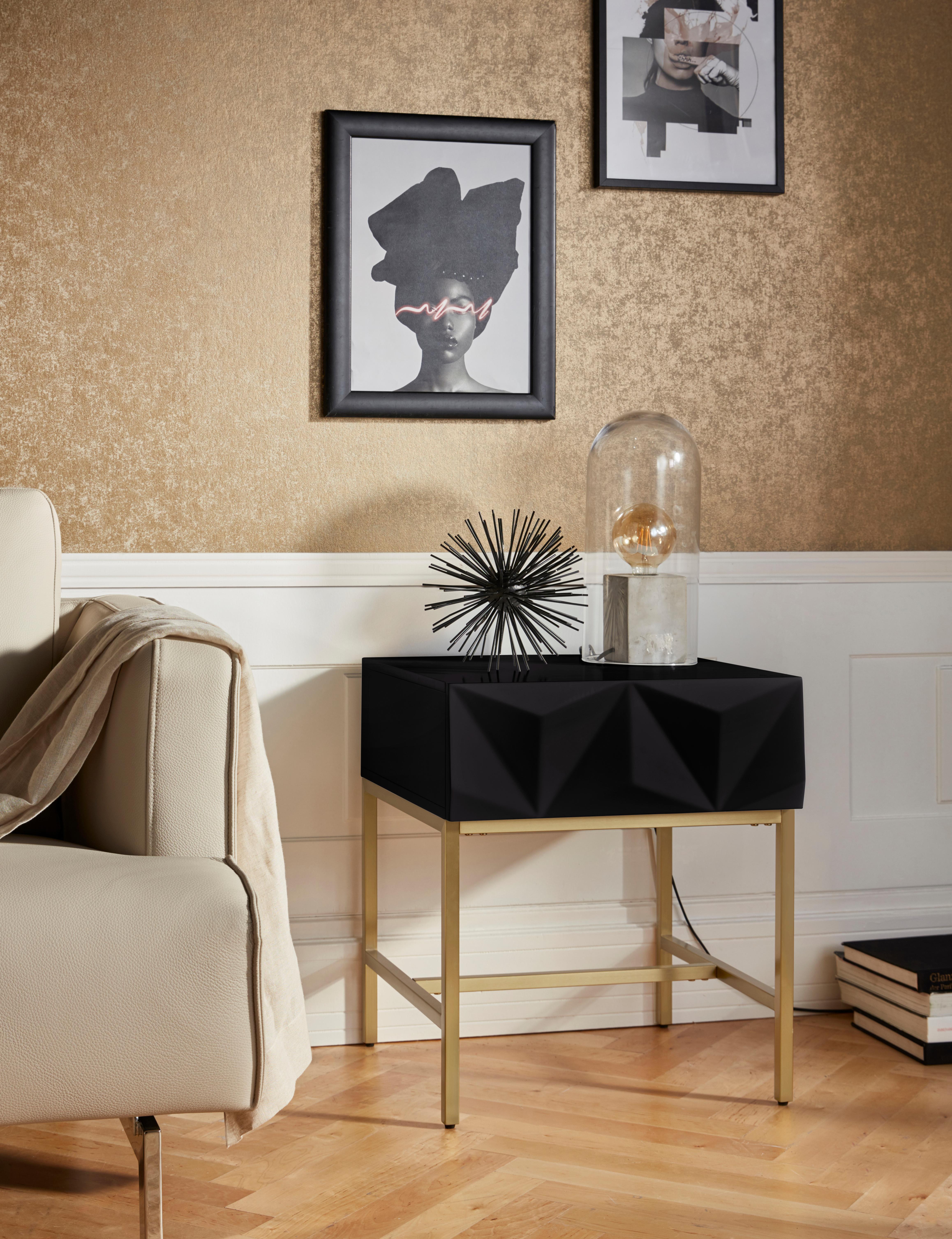 Leonique Beistelltisch Minfi, Schublade mit 3D-Front, auch als Nachttisch geeignet, Breite 50 cm schwarz Beistelltische Tische