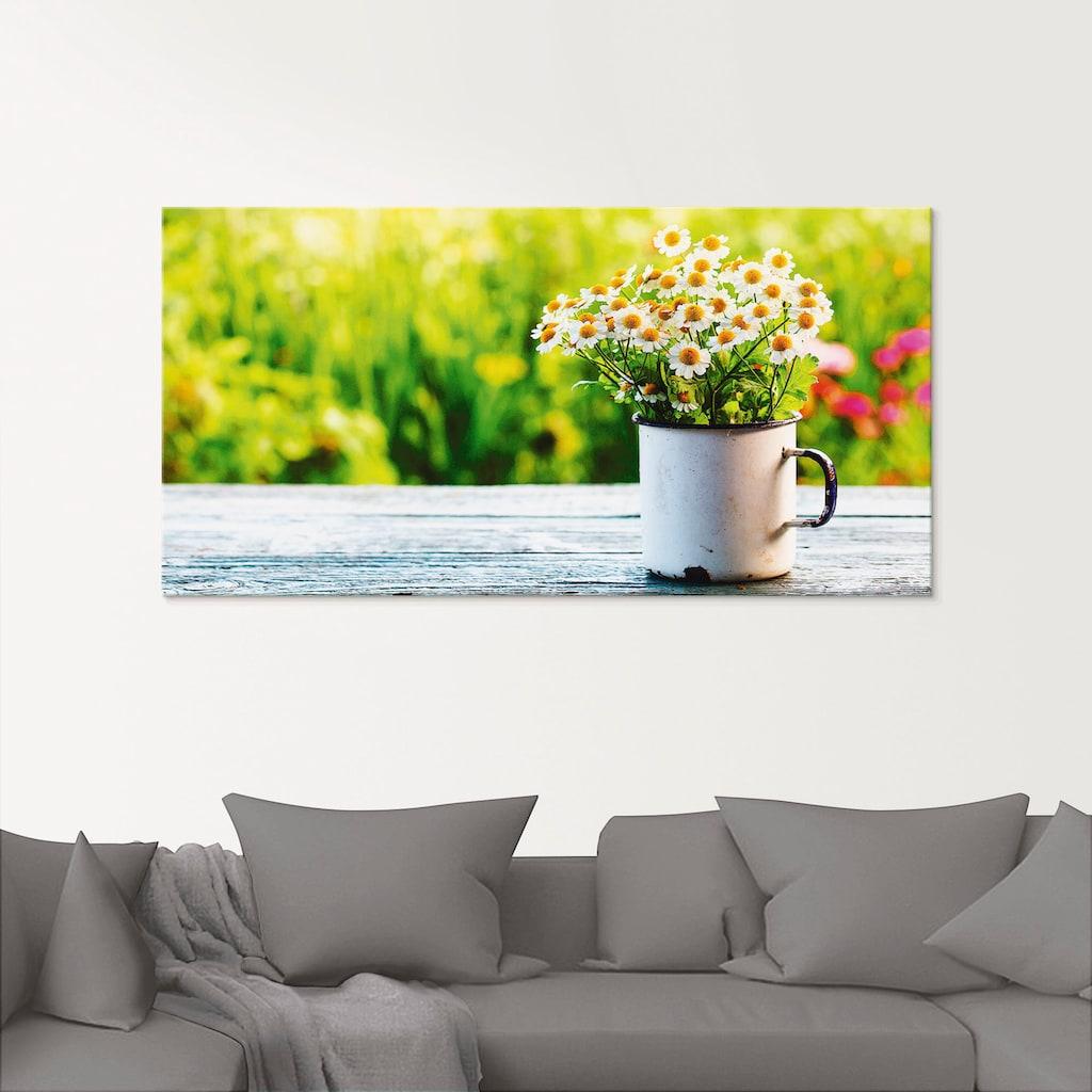 Artland Glasbild »Frühlingsgarten mit Gänseblümchen«, Blumen, (1 St.)