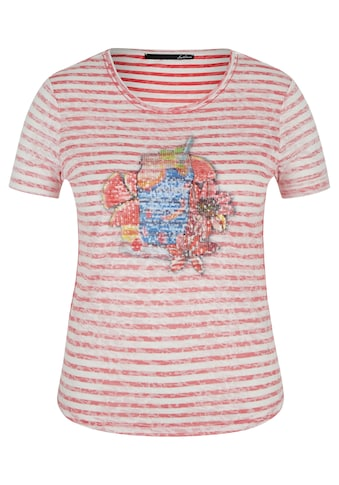 LeComte T-Shirt mit Front-Print und Allover-Ringeln kaufen