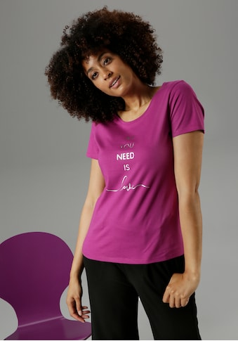 "Aniston SELECTED T-Shirt, mit Folienprint ""all you need is love"" - NEUE KOLLEKTION kaufen"