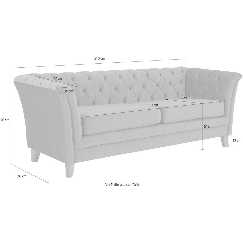 Home affaire 3-Sitzer »Newport«, mit Knopfheftung im Rücken, Keder und feinen Armlehnen