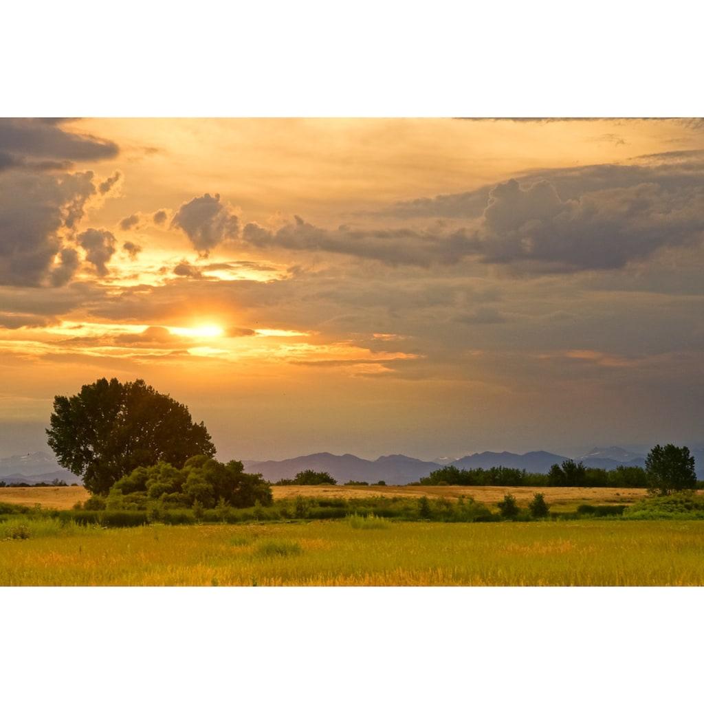 Papermoon Fototapete »Sonnenuntergangslandschaft«, Vliestapete, hochwertiger Digitaldruck