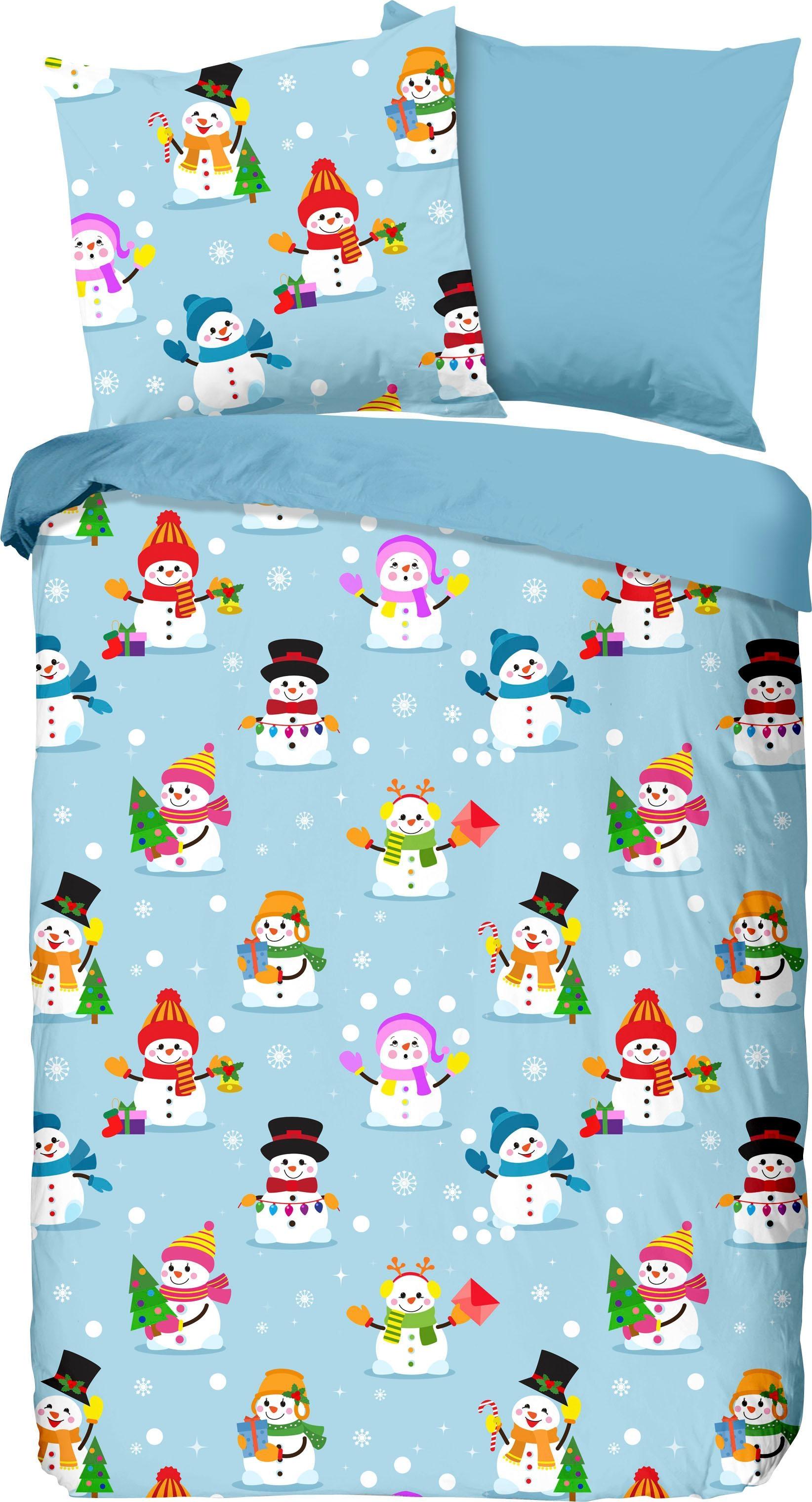 Kinderbettwäsche Snowmen good morning