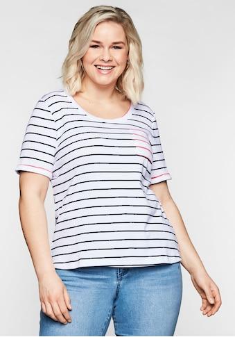 Sheego T-Shirt, mit Ringeln und Brusttasche in Kontrastfarbe kaufen