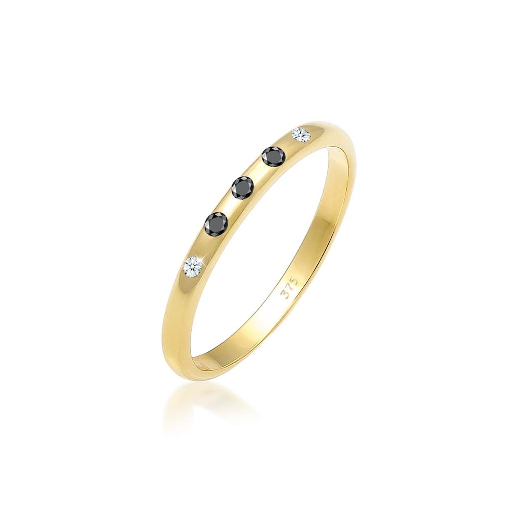 Elli Diamantring »Bandring Weiß Schwarz Diamant (0.075 ct) 375 Gold«