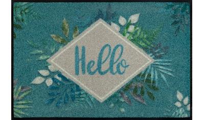 wash+dry by Kleen-Tex Fußmatte »Floral Hello«, rechteckig, 7 mm Höhe, Fussabstreifer, Fussabtreter, Schmutzfangläufer, Schmutzfangmatte, Schmutzfangteppich, Schmutzmatte, Türmatte, Türvorleger, mit Spruch, In- und Outdoor geeignet, waschbar kaufen