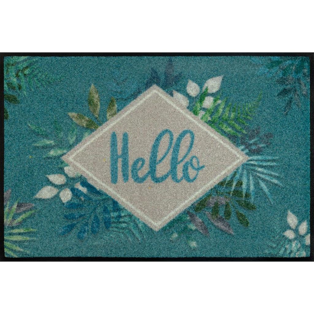 wash+dry by Kleen-Tex Fußmatte »Floral Hello«, rechteckig, 7 mm Höhe, Fussabstreifer, Fussabtreter, Schmutzfangläufer, Schmutzfangmatte, Schmutzfangteppich, Schmutzmatte, Türmatte, Türvorleger, mit Spruch, In- und Outdoor geeignet, waschbar