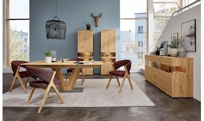 GWINNER Essgruppe »Anzio«, (Set, 5 tlg.), inkl. 4 Stühle wahlweise mit Stoff oder Leder bezogen, Tischplatte in Balkeneiche furniert kaufen