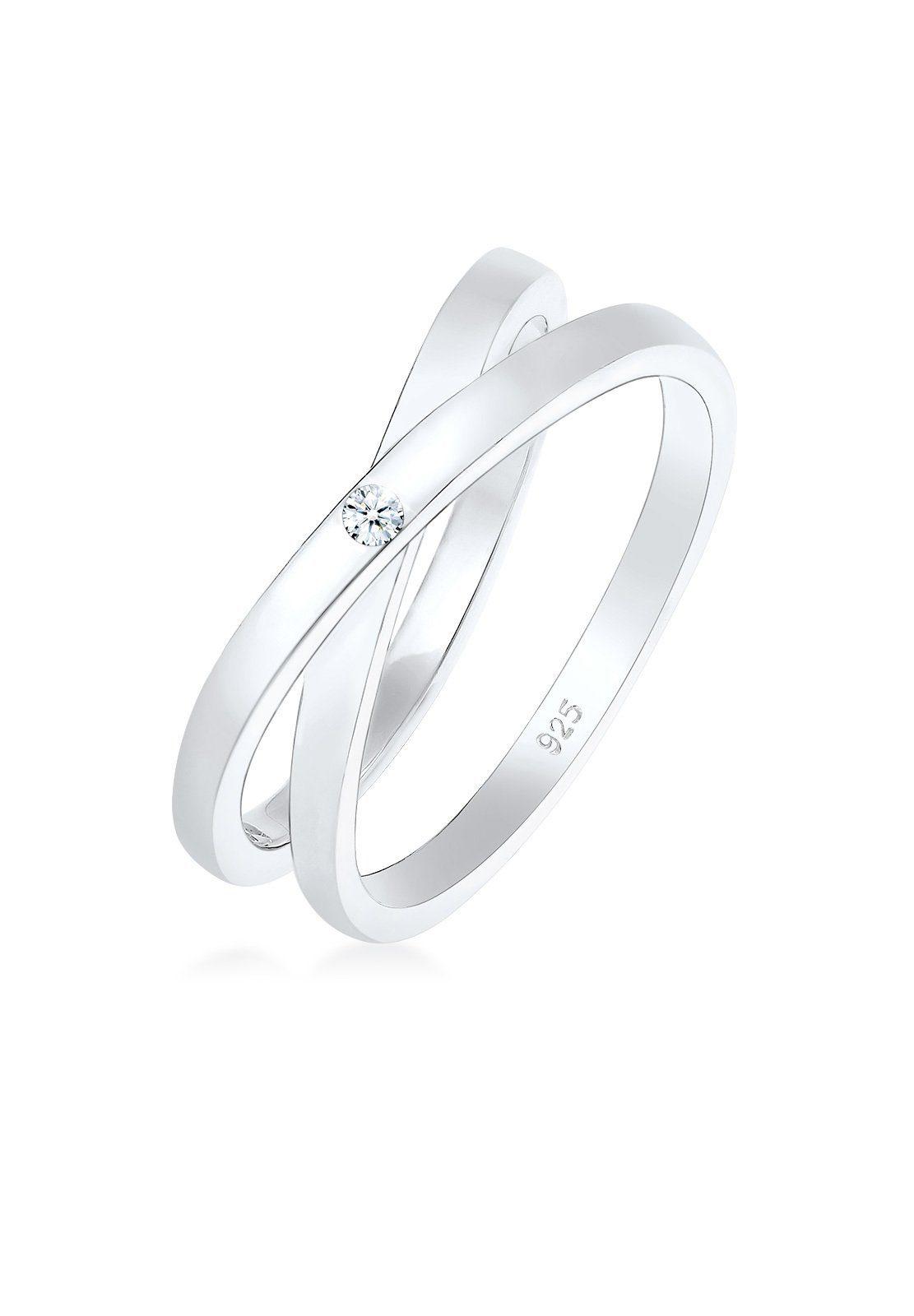Diamore Diamantring Wickelring Cross Diamant (002 ct) 925 Silber   Schmuck > Ringe > Diamantringe   Diamore