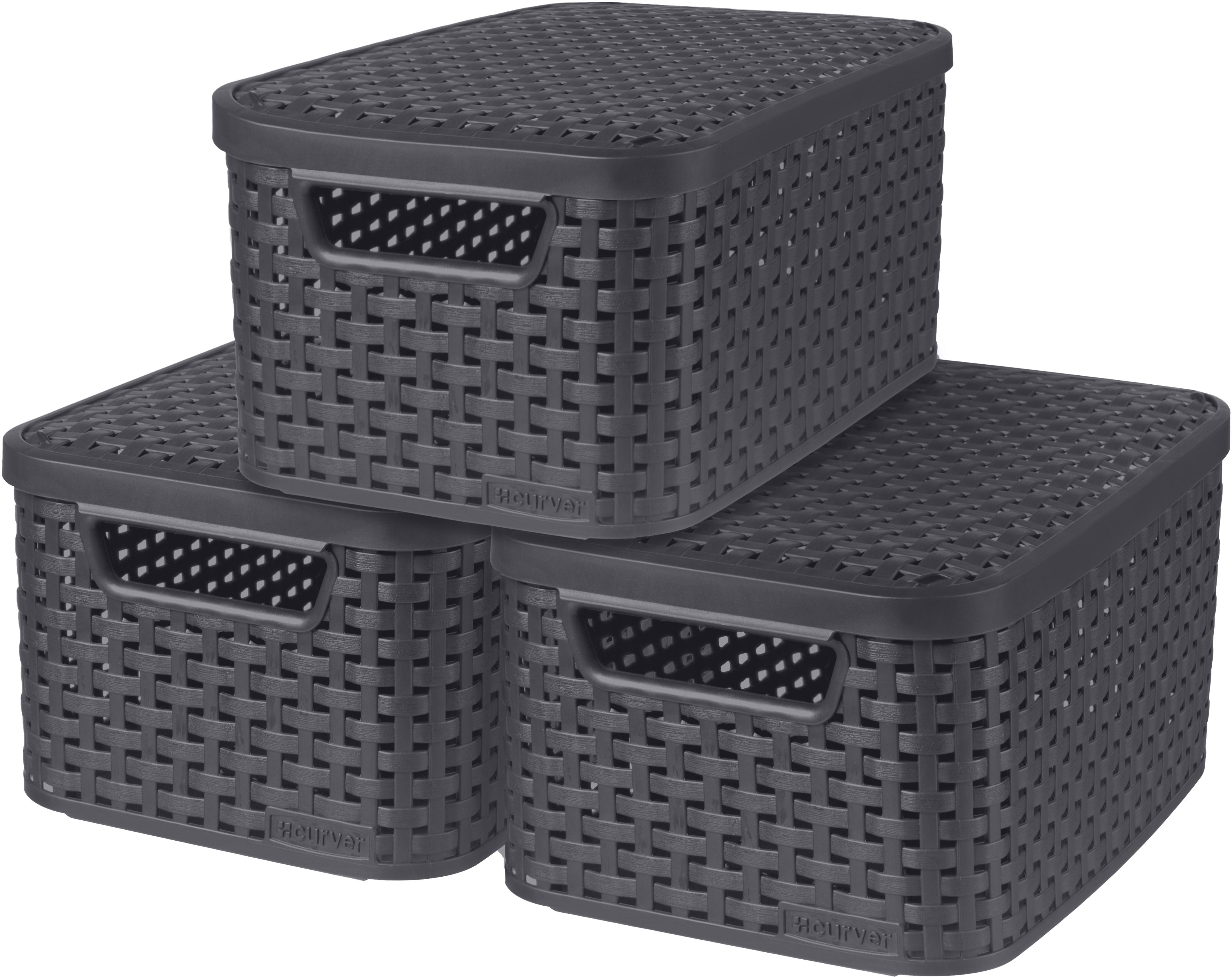 Curver Aufbewahrungsbox Style, (Set, 3 St.), mit Deckel anthrazit, x 7 Liter grau Kleideraufbewahrung Aufbewahrung Ordnung Wohnaccessoires