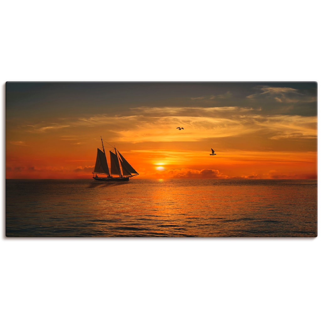 Artland Wandbild »Segelboot im Sonnenuntergang«, Boote & Schiffe, (1 St.), in vielen Größen & Produktarten -Leinwandbild, Poster, Wandaufkleber / Wandtattoo auch für Badezimmer geeignet