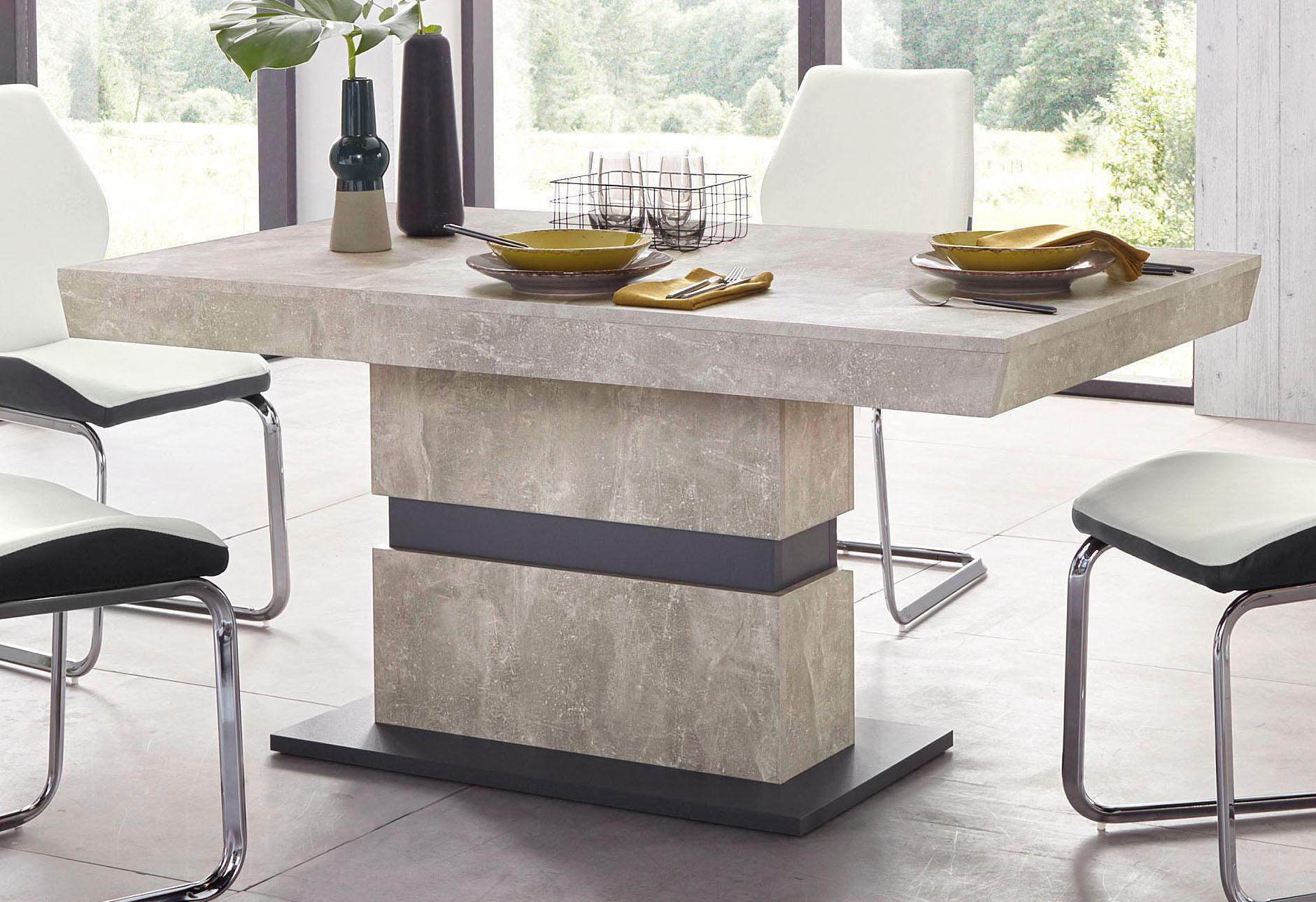 Homexperts Säulen-Esstisch Marley grau Esstische rechteckig Tische Tisch