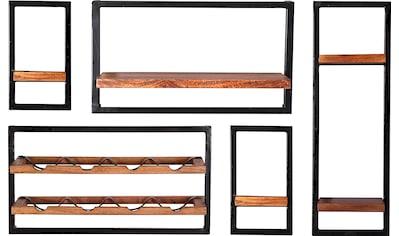 SIT Wandregal »Panama«, (Set, 5 St.), Regalset 5er-Set im Industrial Stil, Mangoholz... kaufen