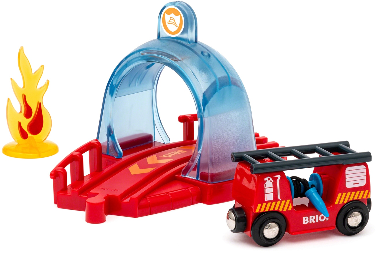 BRIO Spielzeug-Eisenbahn Smart Tech Sound Feuerwehreinsatz rot Kinder Kindereisenbahnen Autos, Eisenbahn Modellbau
