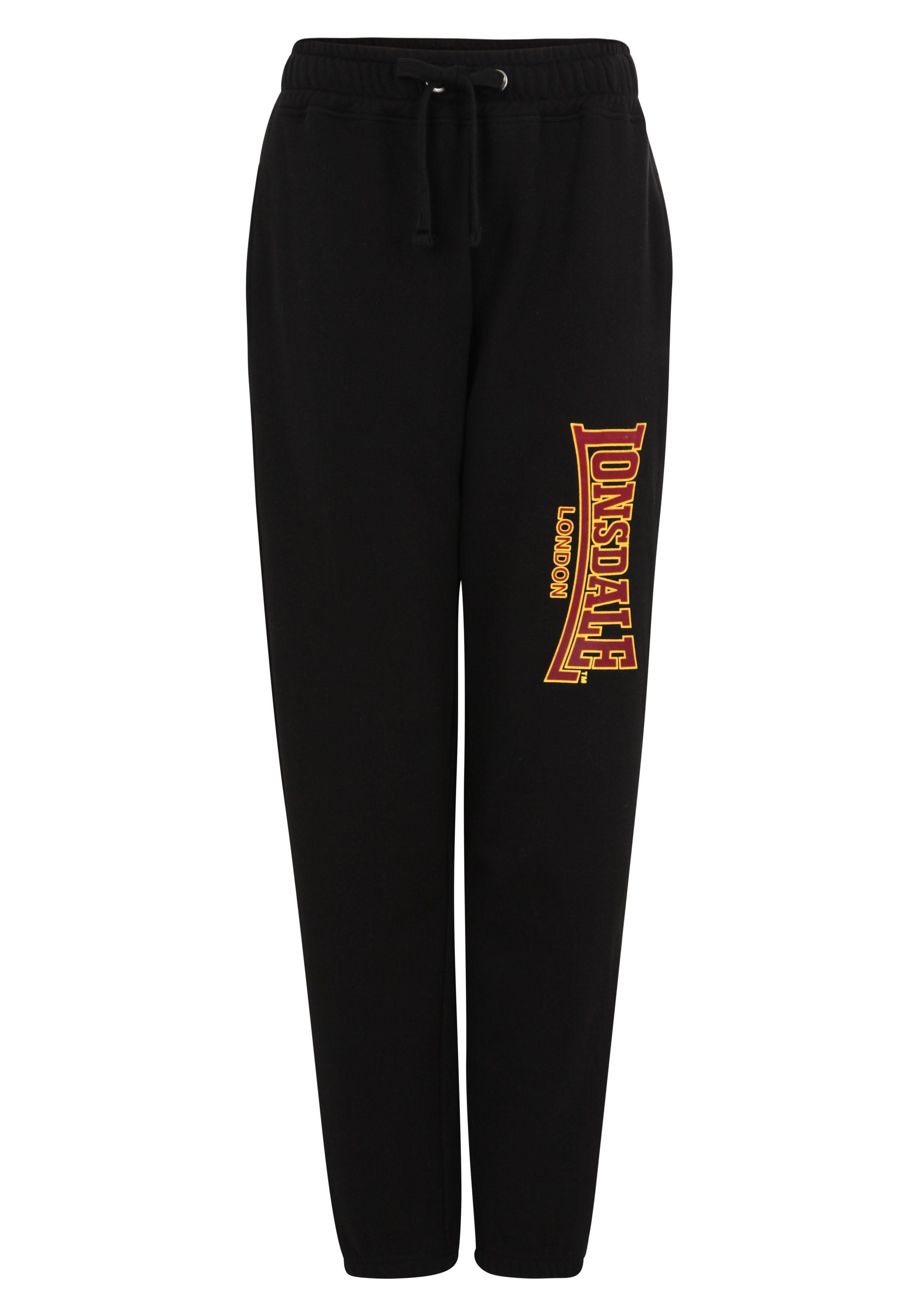 Lonsdale Jogginghose in Slim Fit-Schnitt GOOLE | Sportbekleidung > Sporthosen | Schwarz | Baumwolle - Polyester | Lonsdale