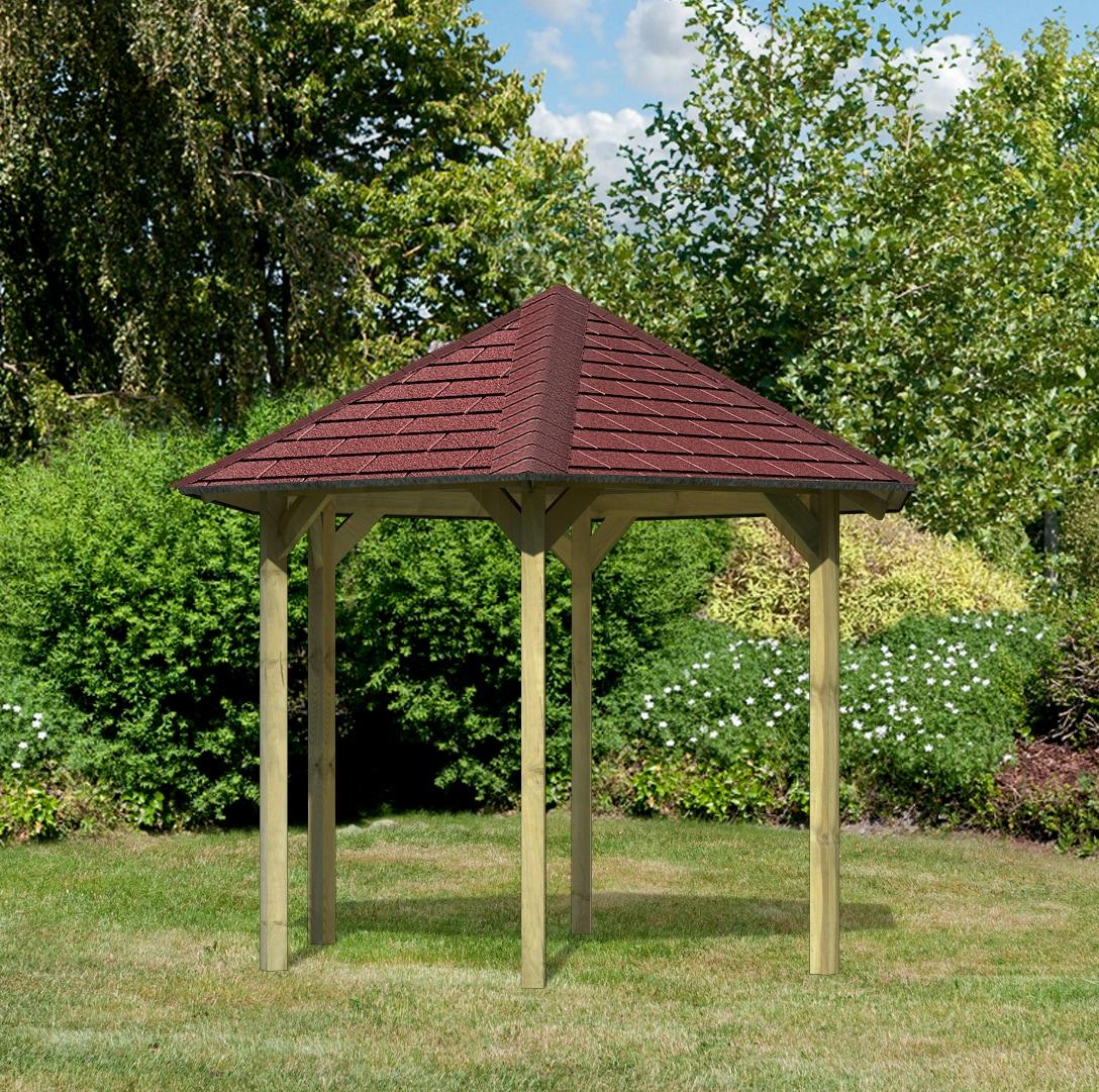 Karibu Holzpavillon Madrid, BxT: 349x302 cm, inkl. Dachschindeln und Pfoste günstig online kaufen