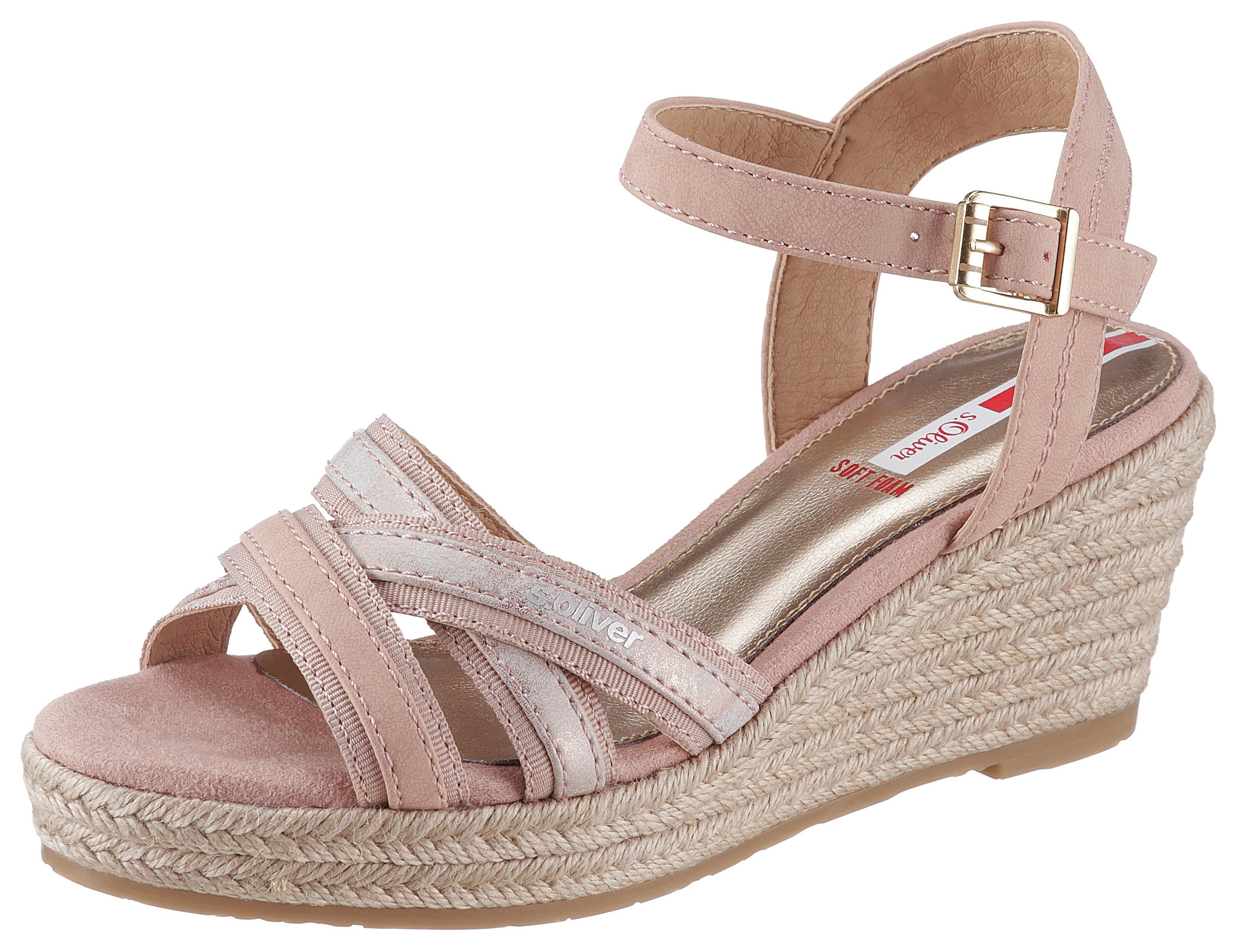 s.Oliver Sandalette, mit Jute-Besatz rosa Damen Sandaletten Sandalen Sandalette