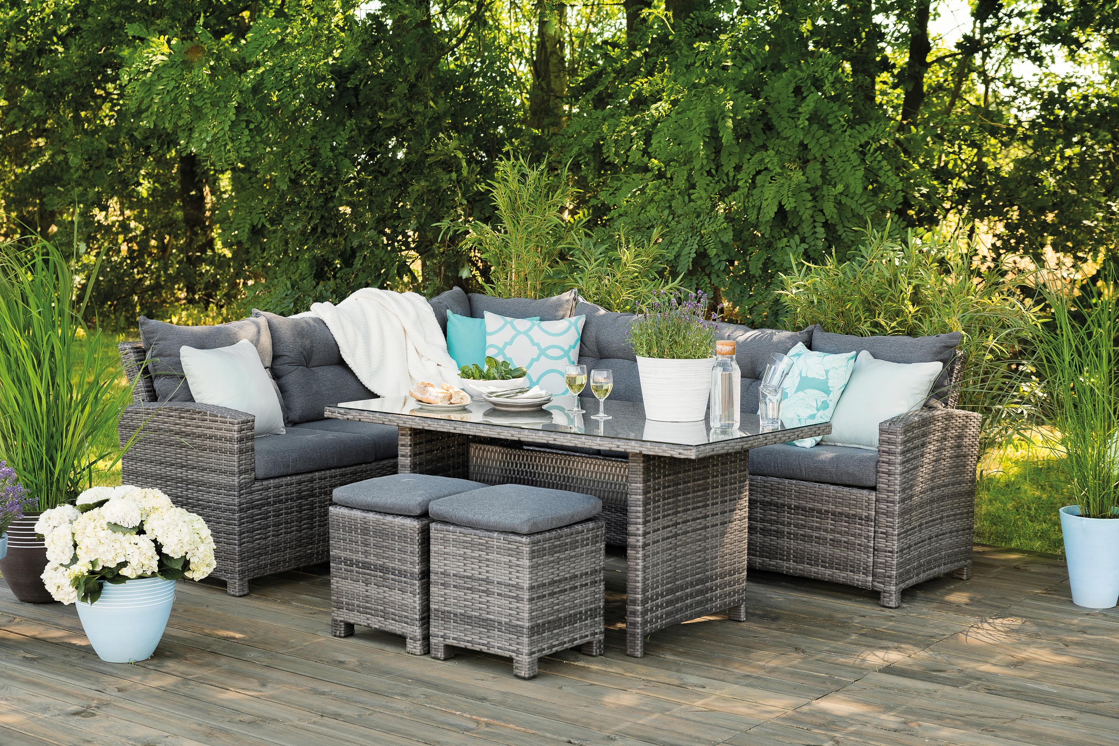 GREEMOTION Loungeset Tessin 20-tlg 2 Sofa 2 Sessel Tisch 150x80 cm Kunststoff grau