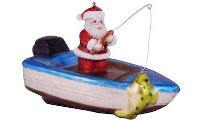 """Krebs Glas Lauscha Christbaumschmuck """"Fischerboot mit Weihnachtsmann"""" (1 - teilig) kaufen"""