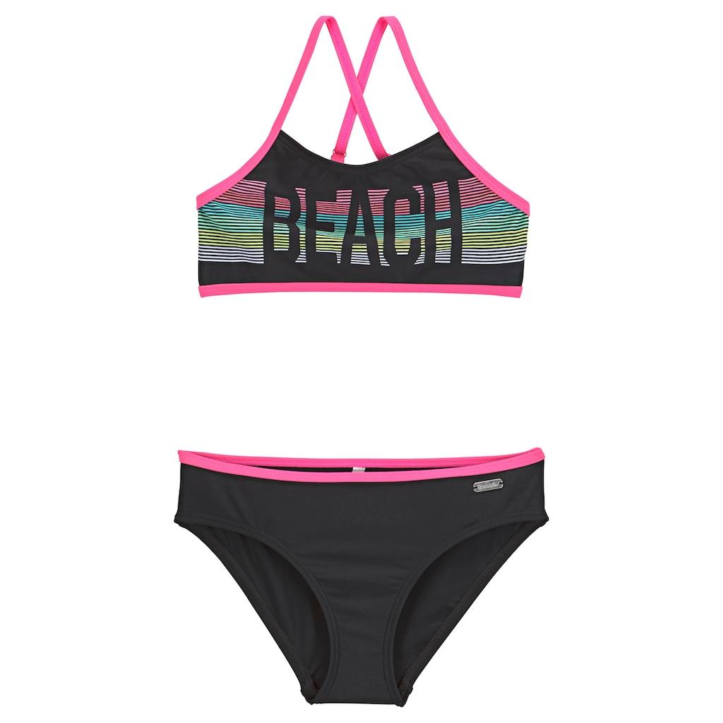 Bench. Bustier-Bikini, mit pinken Kontrastpaspeln