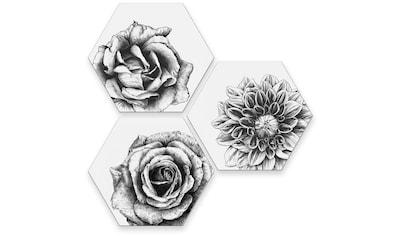 Wall-Art Mehrteilige Bilder »Blumen Collage Floral Deko«, (Set, 3 St.) kaufen