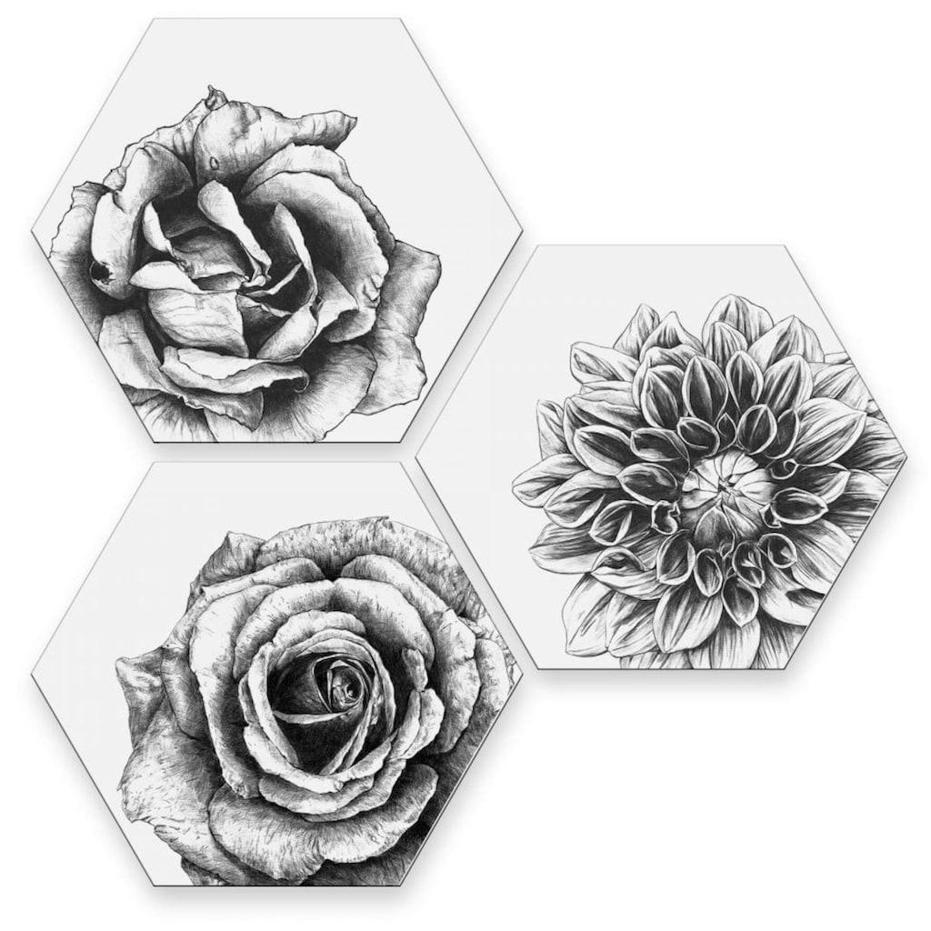 Wall-Art Mehrteilige Bilder »Blumen Collage Floral Deko«, (Set, 3 St.)