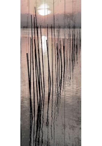 queence Holzbild »Sonnenuntergang See«, 80x40 cm kaufen